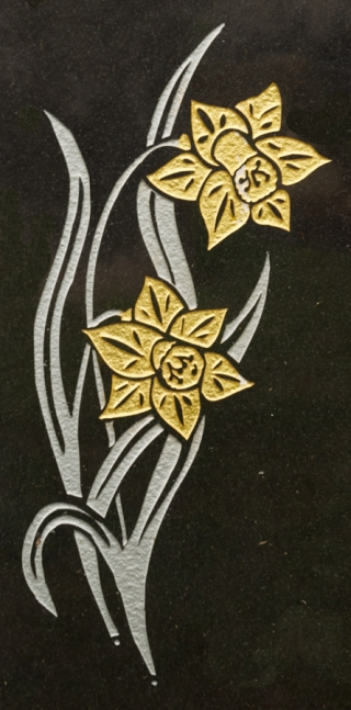 Engraved and painted daffodils