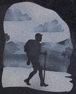 Engraved and left natural hiker