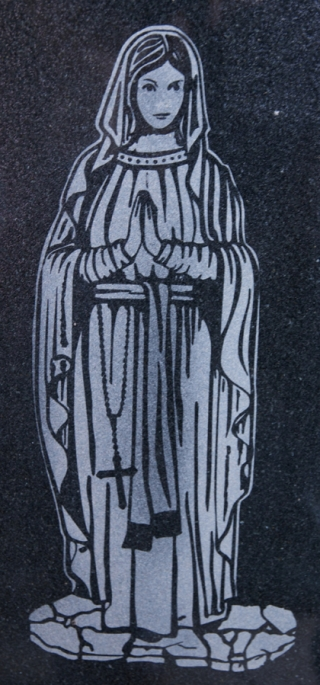Engraved and left natural Virgin Mary