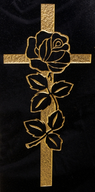 Engraved and gilded rose and cross