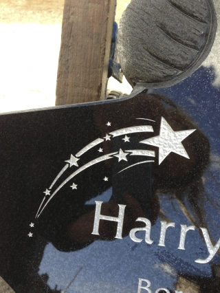 Engraved and silvered shooting star